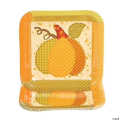 Fall Patchwork Square Dessert Plates