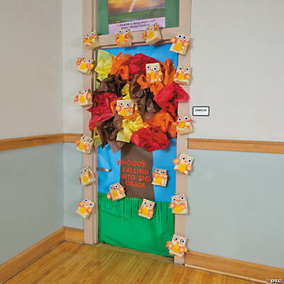 Fall tree door decoration idea for Autumn classroom door decoration ideas