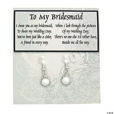 Faux Pearl Bridesmaid Earrings with Card Kit