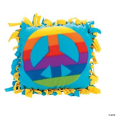 Fleece Peace Sign Tied Pillow Craft Kit