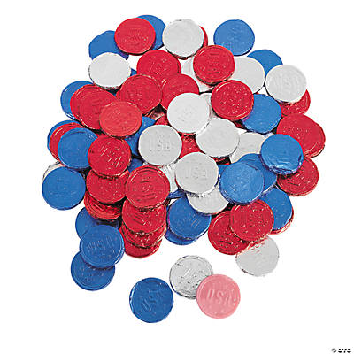 Foil-Wrapped Patriotic Bubble Gum Coins