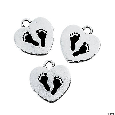 Footprint Heart Charms