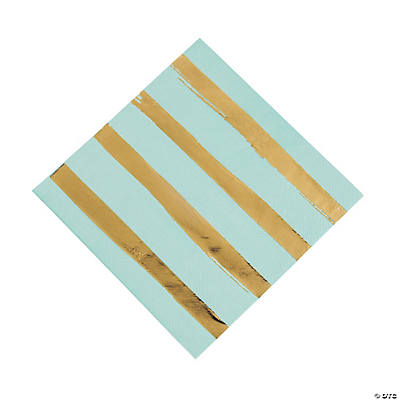 Fresh Mint & Gold Foil Striped Luncheon Napkins