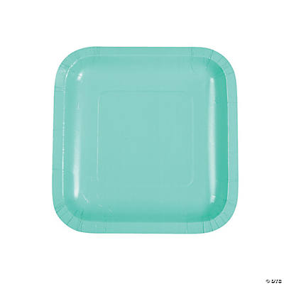 Fresh Mint Green Square Dessert Paper Plates  sc 1 st  Oriental Trading & Mint Green Square Dessert Paper Plates