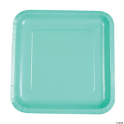Fresh Mint Green Square Dinner Paper Plates
