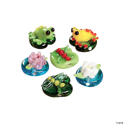 Frog & Lily Pad Lampwork Beads - 12mm - 15mm