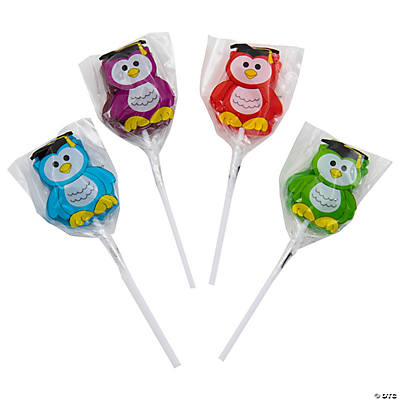 Frosted Graduation Owl Lollipops