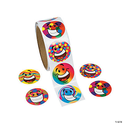 Funky Smile Face Roll of Stickers