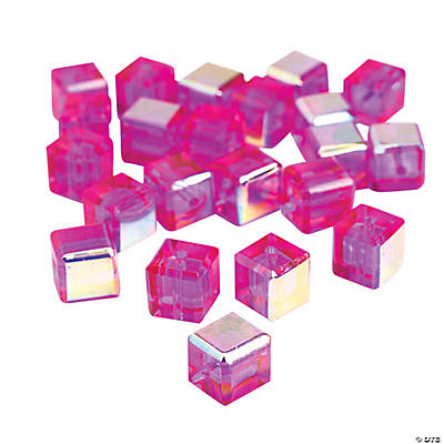 Fuschia Cube AB Cut Crystal Beads - 8mm