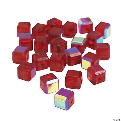 Garnet Cube AB Cut Crystal Beads - 8mm