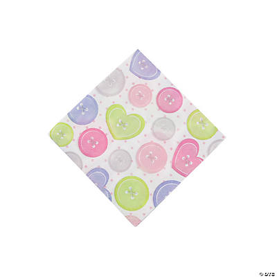 Girl Cute as a Button Beverage Napkins