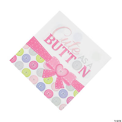 Girl Cute as a Button Luncheon Napkins