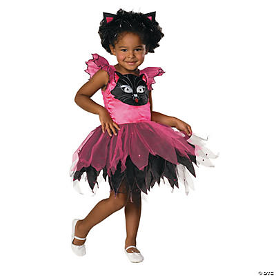 Girl's Pink & Black Kitty Cat Costume