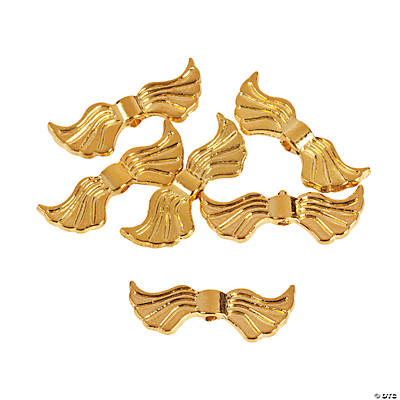 Gold Angel Wing Beads - 20mm x 6mm