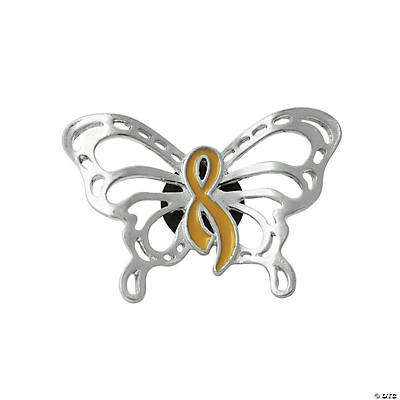 Gold Awareness Ribbon Butterfly Pins