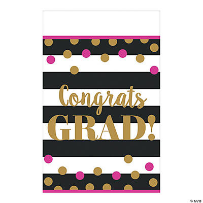 Gold Confetti Graduation Tablecloth