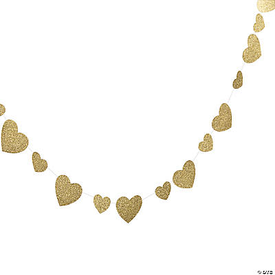 Gold Glitter Heart Garland