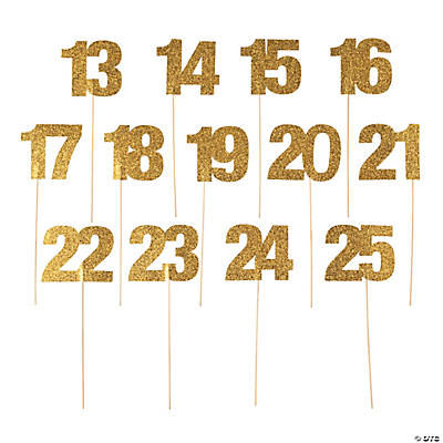 Gold glitter table numbers 13 25 for Table design numbers