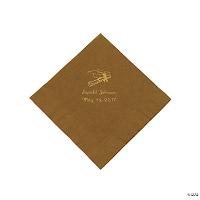 Gold Graduation Personalized Luncheon Napkins with Gold Print