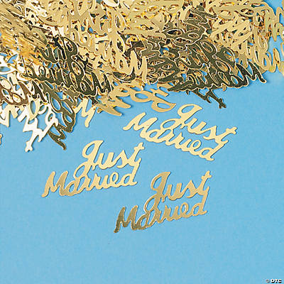 "Gold ""Just Married"" Confetti"