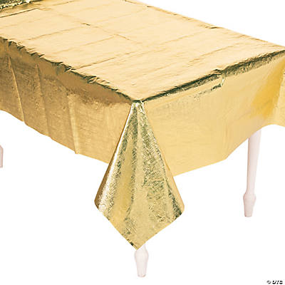 Gold Metallic Plastic Tablecloth