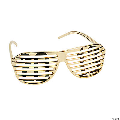 """2013"" Gold Metallic Shutter Shading Glasses"