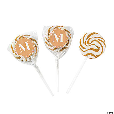 Gold Monogram Swirl Pops