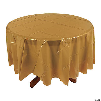 Gold Round Plastic Tablecloth
