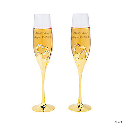 Gold Stacked Heart Personalized Wedding Champagne Flute