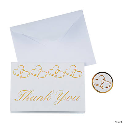 Gold Two Heart Wedding Thank You Cards