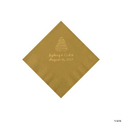 gold wedding cake personalized napkins with gold foil beverage. Black Bedroom Furniture Sets. Home Design Ideas