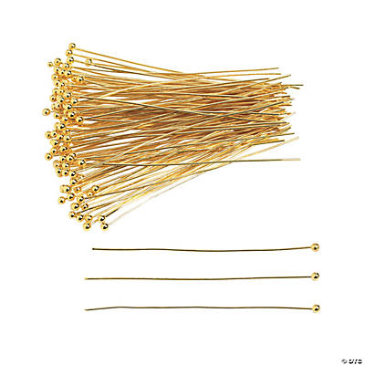 "Goldtone Headpins with Ball - 2"" with 1mm Ball"