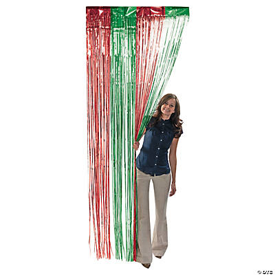 Green & Red Fringe Foil Curtain