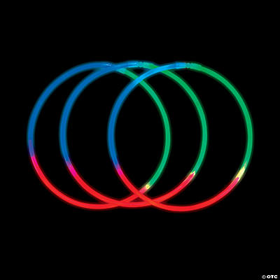Green, Blue and Red Premium Tri-Color Glow Necklaces