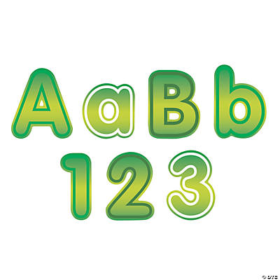 Green Bulletin Board  Letters & Numbers