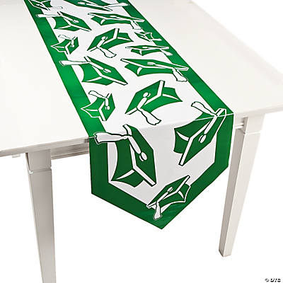 Green Congrats Grad Table Runner