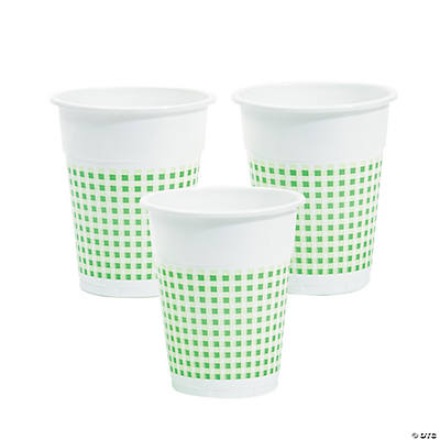 Green Gingham Disposable Cups