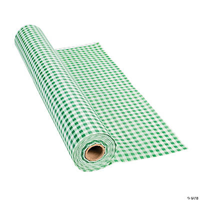 Green Gingham Plastic Tablecloth Roll