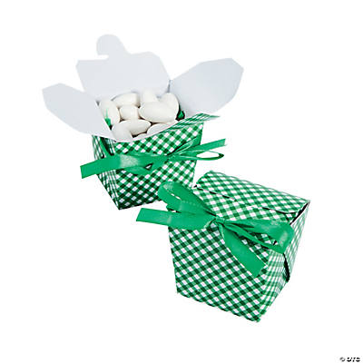 Green Gingham Take Out Boxes