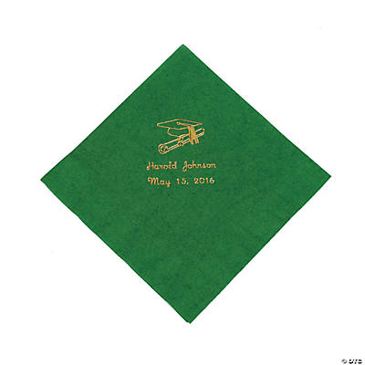 Green Personalized Graduation Luncheon Napkins
