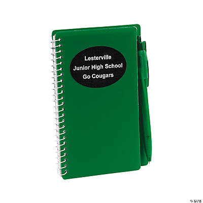 Green Personalized Spiral Notebook & Pen Sets