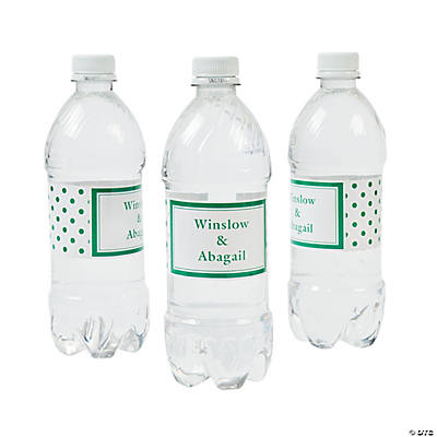 Green Polka Dot Personalized Water Bottle Labels