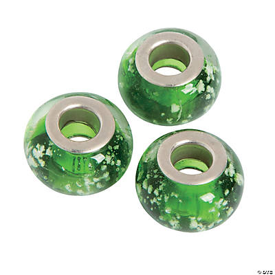 Green Sparkle Large Hole Beads