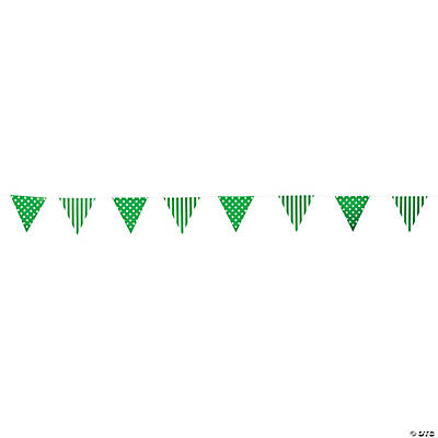 Green Striped & Polka Dot Pennant Banner