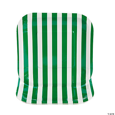 Green Striped Square Dessert Plates