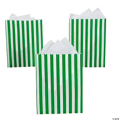 Green Striped Treat Bags