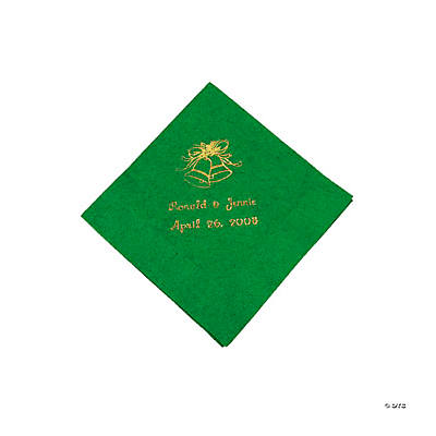 Green Wedding Personalized Beverage Napkins with Gold Print