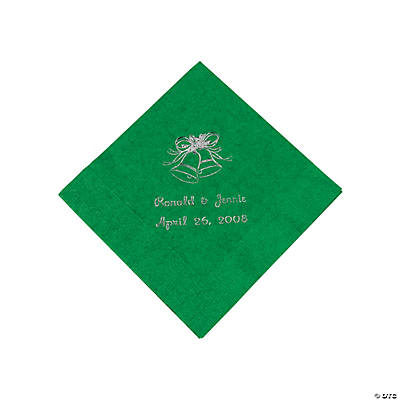 Green Wedding Personalized Beverage Napkins with Silver Print