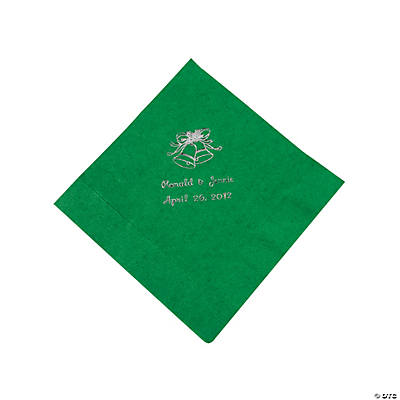 Green Wedding Personalized Luncheon Napkins with Silver Print