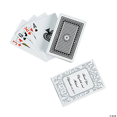 Grey & White Wedding Personalized Playing Cards